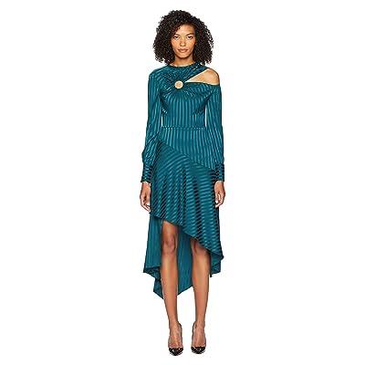 YIGAL AZROUEL Long Sleeve Cut Out Dress w/ Ring Detail (Dark Green) Women