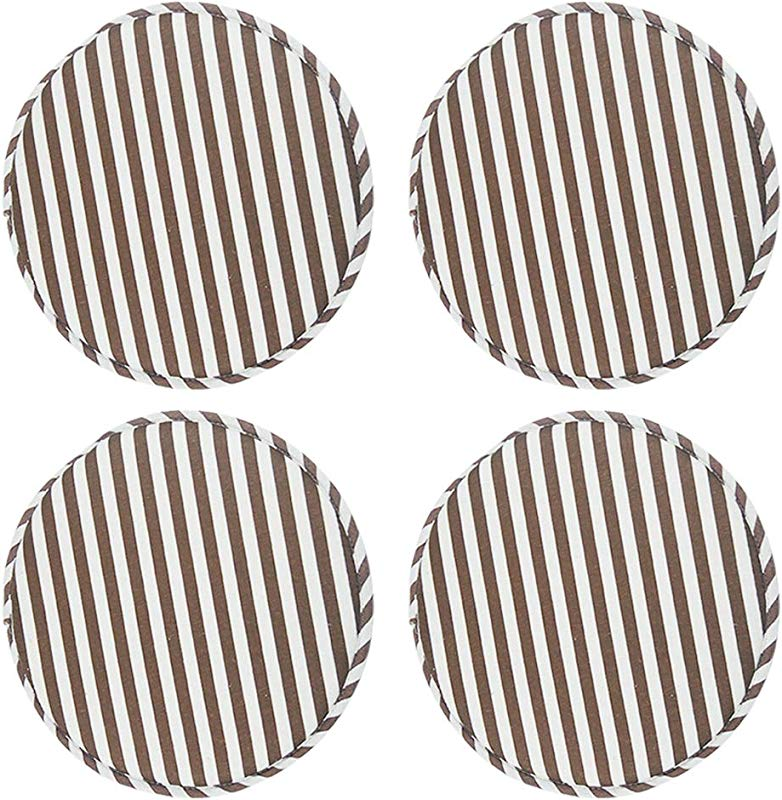 4 Pack Round Non Slip Cushions Seat Kitchen Dining Office High Stool Chair Pads Sponge Firm Seat Bar Pad With Ties 13 Inch Coffee Stripe