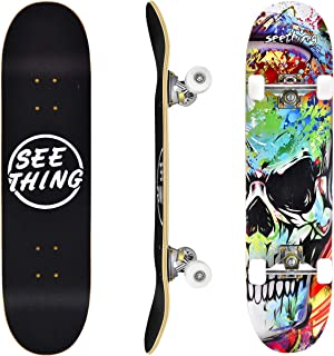 """seething 31"""" Standard Skateboards for Beginners, 7 Layer Canadian Maple Double Kick Concave Standard and Tricks Skateboards for Kids and Beginners"""