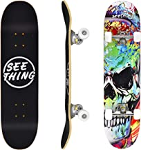 """seething 31"""" Standard Skateboards for Beginners, 7 Layer Canadian Maple Double Kick Concave Standard and Tricks Skateboard..."""