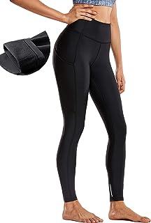 CRZ YOGA Damen Winter Fleece Futter Thermo Sport Leggins Höhe Taille mit Taschen Fitnesshose-71cm