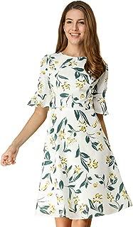 Allegra K Women's Bell Sleeve Floral A-line Dress