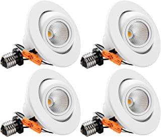 TORCHSTAR 10W 4-Inch High CRI Dimmable Gimbal Retrofit LED Recessed Light, 75W Eqv, Energy Star, Title24, UL-Classified 2700K Soft White, Remodel Adjustable Ceiling Light Downlight, Pack of 4