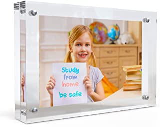 MÍRA-K Acrylic Picture Frame with Magnetic Closure | Double Sided Frameless Crystal Clear Lucite Photo Frame for Desktop o...