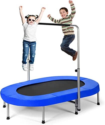 popular Giantex Mini Trampoline, discount 2 Persons Foldable Fitness Trampoline w/ 5 Levels Height Adjustable Handle, Max Load 330LBS, Indoor Oval Rebounder Exercise Trampoline for Adult, Kid, outlet online sale Enjoy Parent-Child Time outlet sale
