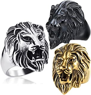 Detailed 316L Stainless Steel Roaring Lion Mens Ring Engraved Carved, Black