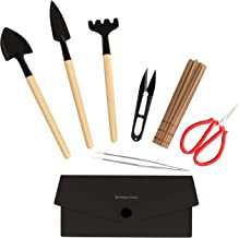 Planters' Choice Bonsai Tool Kit - Includes: Wooden Rake, Long & Wide Spades, Scissors, Tweezers, Bamboo Brush, and Pruning Shears (Trimmer/Clipper) in Fabric Storage Holder : Bonsai Tools (Tool Kit)