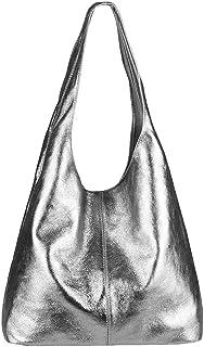 OBC Made IN Italy Damen Leder Hand-Tasche METALLIC Shopper Schultertasche Hobo-Bag Henkeltasche Beuteltasche Silber