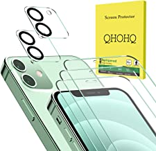 QHOHQ 3 Pack Screen Protector for iPhone 12 [6.1 Inch] with 2 Packs Tempered Glass Camera Lens Protector,Tempered Glass Fi...