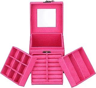 JDYYICZ Three-Layer Lint Jewelry Box/Organizer/Display Storage Case with Mirror (Hot Pink)