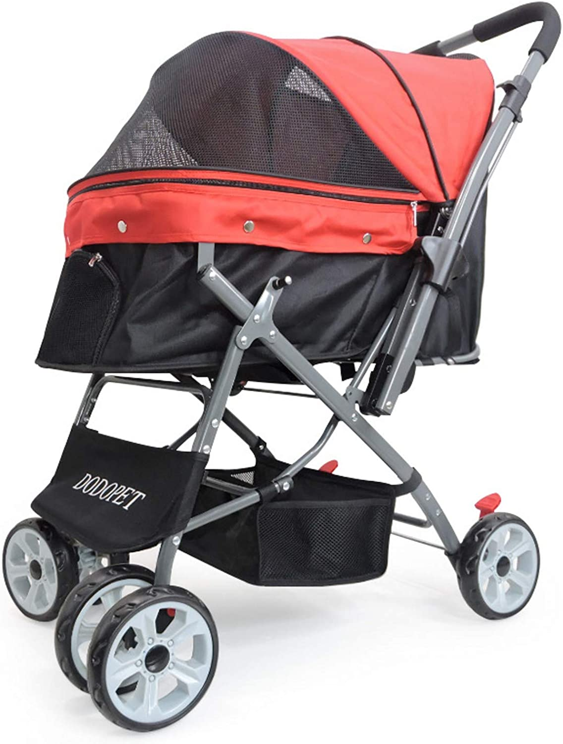 JKL Small Medium Pet Travel Stroller Cat Dog Pushchair Trolley Puppy Jogger Carrier 4 Wheels (color   RED)