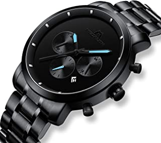 Mens Black Watches Men Military Waterproof Chronograph Sport Stainless Steel Wrist Watch Business Dress Date Analogue Quartz Watches for Man