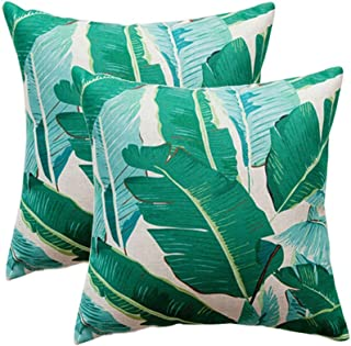 U-LOVE Pack of 2 Banana Leaves Pillow Covers Cotton Linen Tropical Palm Leaves Cushion Covers Square Decorative Pillowcase...