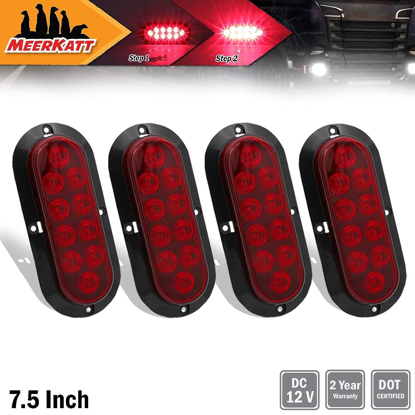 "Meerkatt (Pack of 4) 6"" Inch Oval Red LED 10 Diodes Side Marker Clearance Lamp Super Brightness Brake Rear Tail Lights Waterproof for Lorry Bus Truck SUV Trailer Caravan Sedan RV Universal 12v DC DA12"