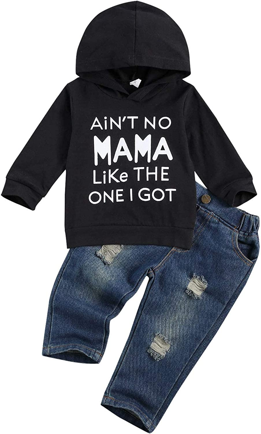 Shejingb Kids Toddler Baby Boy Hoodie Sweatshirt Outfit Letter Print Sweater Tops&Jeans Pants Set Fall Winter Jogging Clothes