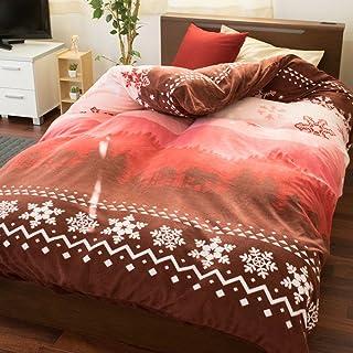 【毛布としても使える♪なめらかタッチの冬用カバー】 マイクロフリース あったか 布団カバー シングル 冬用 洗える かわいい おしゃれ 北欧 スノー レッド