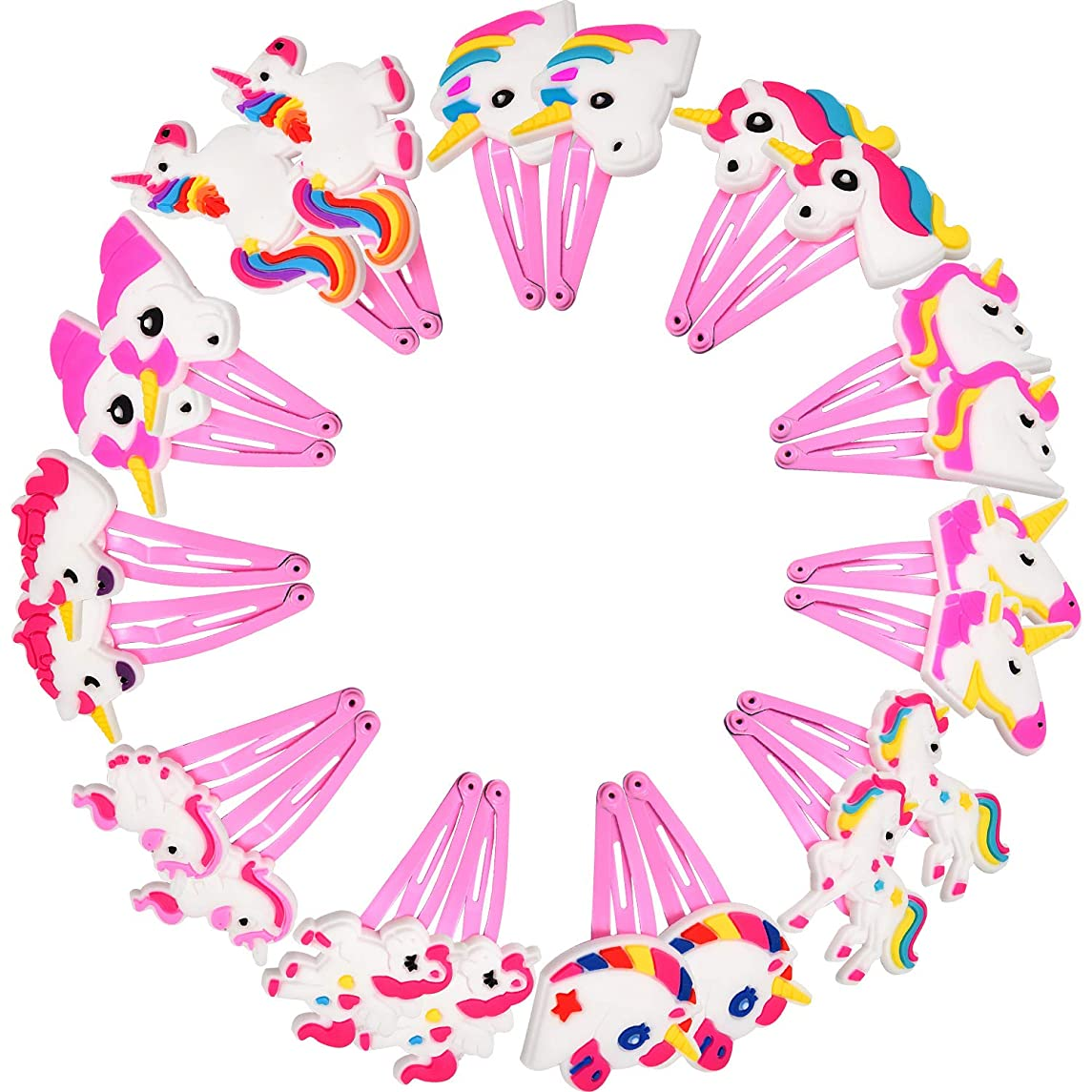 BBTO 22 Pieces Unicorn Pattern Hair Clips 1.57 inch Anti-slip Snap Hair Clips Barrettes Hairpins for Baby Girls Unicorn Party Supplies