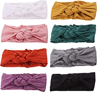 inSowni 8pcs Solid Celtic Knot Stretchy Nylon Turban Headbands Headwraps Hair Bands Accssories for Baby Girls Toddlers New...