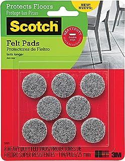 Scotch Heavy Duty Felt Pads, Round, Gray, 1-in Diameter, 8 Pads/Pack (SP870-NA)