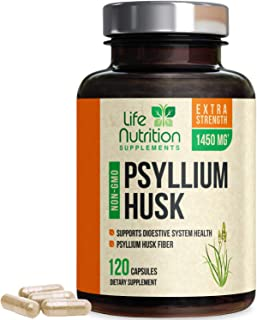 Psyllium Husk Capsules, Highest Potency Dietary Fiber 1450mg - Psyllium Powder Supplement, 100% Soluble Pills, Helps Constipation, Digestion, Intestinal Health and Natural Weight Loss - 120 Capsules