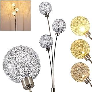 Lampadaire Bernado en métal, nickel mat et abat-jour grillagé - Luminaire pour 3 ampoules G9 idéal dans un salon - chambre...