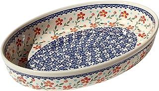 "Polish Pottery Oval Baker From Zaklady Ceramiczne Boleslawiec #350-964 Classic Pattern, Width: 12"" Length: 8.5"""