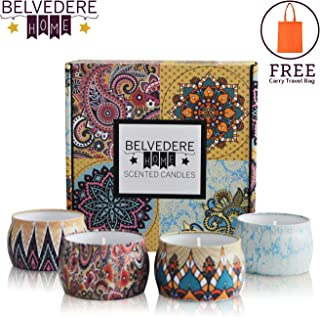 Belvedere Home Natural Scented Soy Candles, Decorative Set of 4, Relaxing Aromatherapy in Lavender, Rose, Ocean, and Orange