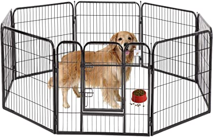 """BestPet Pet Playpen 8 Panel Indoor Outdoor Folding Metal Protable Puppy Exercise Pen Dog Fence,24"""",32"""",40"""""""