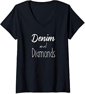 Womens Denim and Diamonds Design V-Neck T-Shirt