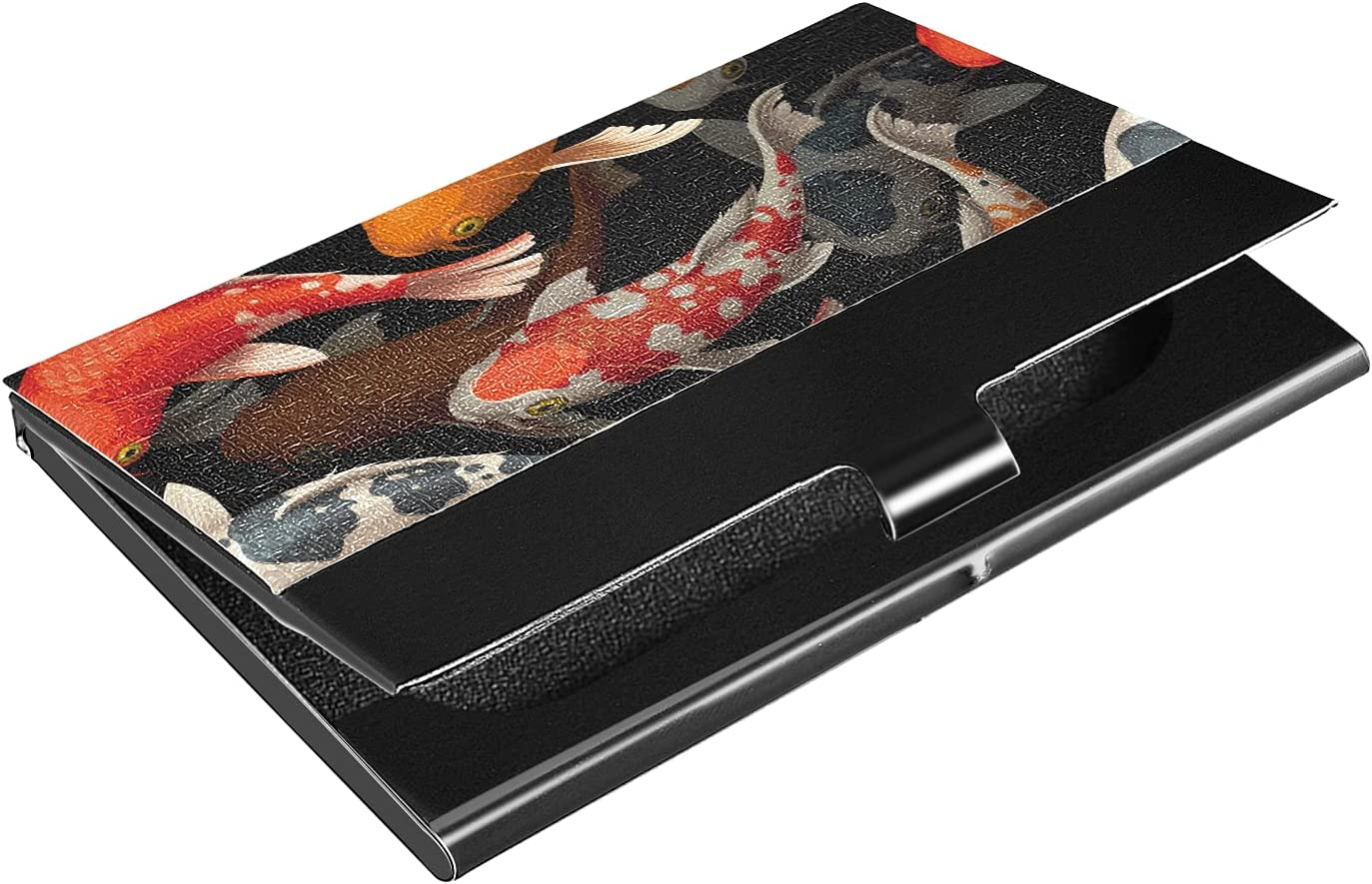 OTVEE Colorful Fish Business Card Holder Wallet Stainless Steel & Leather Pocket Business Card Case Organizer Slim Name Card ID Card Holders Credit Card Wallet Carrier Purse for Women Men