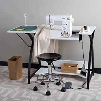"""Sew Ready Comet Sewing Table Multipurpose/Sewing Desk Craft Table Sturdy Computer Desk, 13332, 45.5"""" W, Black/White"""