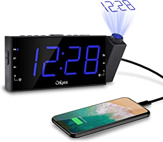 "OnLyee Projection Alarm Clock with AM FM Radio, 7"" LED Digital Ceiling Display, Sleep.."