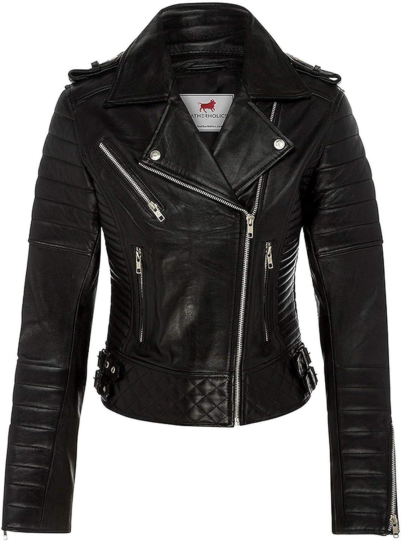 Leatherholics Women's Genuine Leather Quilted Moto Jacket