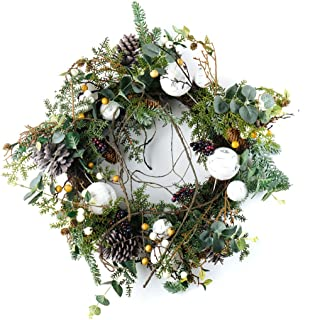 CraftMore Pine Wreath with Birch Ornament Decorations 26