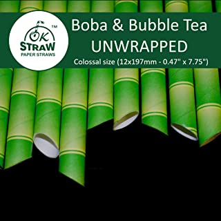 Boba Paper Straws - Bubble Tea Paper Straws - Extra Wide Biodegradable & Compostable Paper Straws for Blended Drinks, Smoothies, Milk Shakes, Boba & Bubble Tea - UNWRAPPED (Green Bamboo, 100)