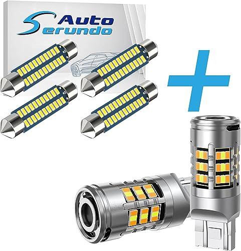 lowest Serundo Auto 4pcs lowest 578 Led Bulb + high quality 2pcs 7443 Turn Signal Light… online sale