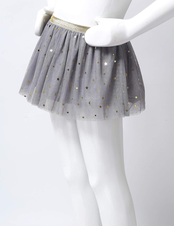 TiaoBug B/éb/é Fille Jupe /à Paillettes Etoiles Brillant Tutu Jupe de Danse Ballet Pliss/é Tulle Jupe Princesse Anniversaire Soir/ée Jupe d/ét/é 12 Mois-5 Ans