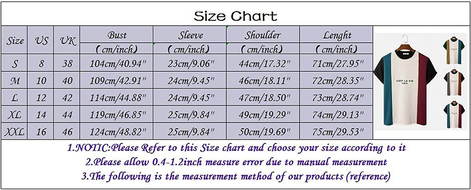 Beshion Mens T Shirts Short Sleeve Graphic Funny Letter Print Shirt Color Block Loose Short Sleeve Round Neck Top