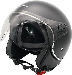 MONACO Jet-Helm mit Visier, Retro Pilot-Helm für Brillen-Träger, Roller-Helm für Frauen und Herren im Vintage-Look, schwarz-matt, Motorrad-Helm, Qualität nach ECE-Norm, S