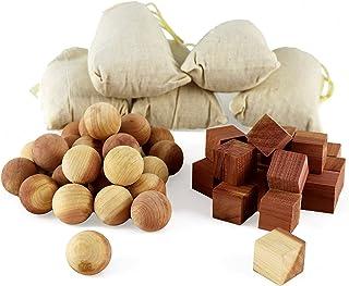 Aszaro Cubos y bolas de cedro en saquitos, 40unidades, 20 bolas de madera de cedro natural,...