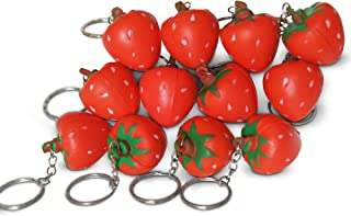 Novel Merk Red Strawberry 12-Piece Fruit Keychains for Kids Party Favors & School Carnival Prizes