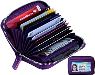 Women's Genuine Leather Credit Card Holder RFID Secure Spacious Cute Zipper Card Wallet Small Purse with ID Window