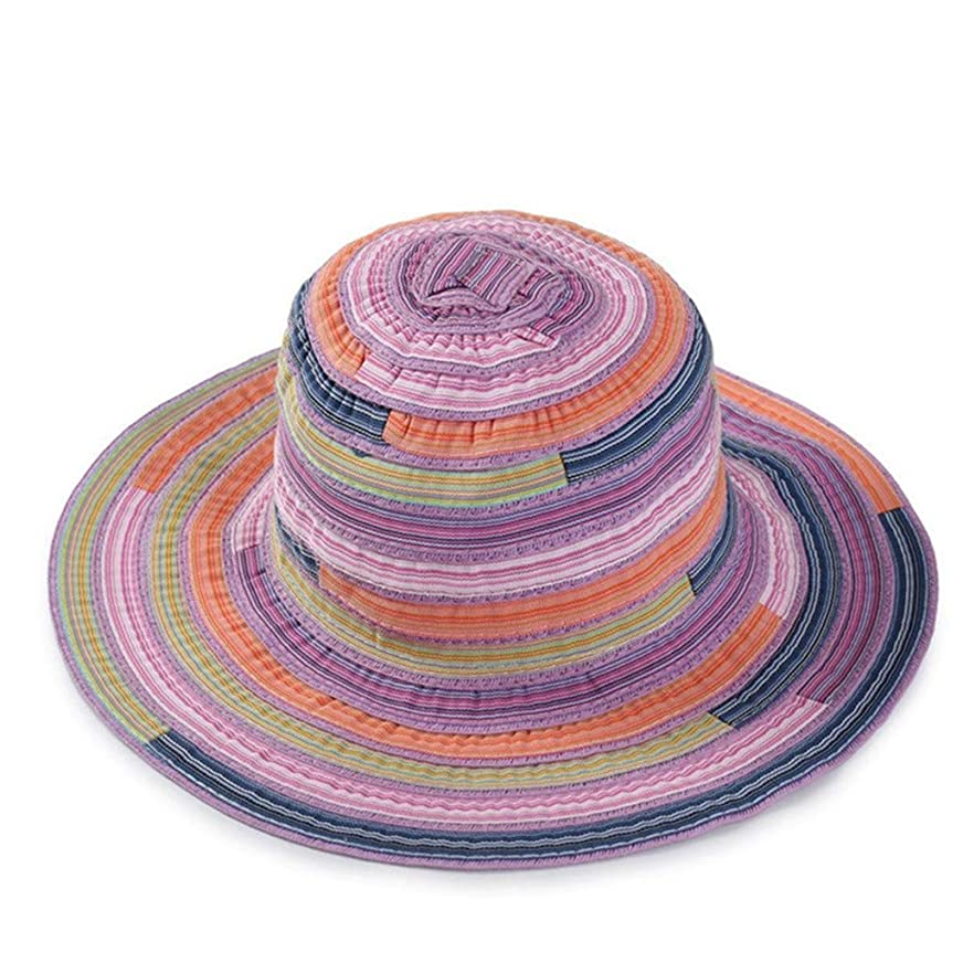 半円作業さわやかUVカット 帽子 レディース ハット 旅行用 日よけ 夏季 日焼け 折りたたみ 持ち運び つば広 リボン付き 調節テープ ストライプ 柄 キャップ 通気性抜群 日除け UVカット 紫外線対策 ROSE ROMAN