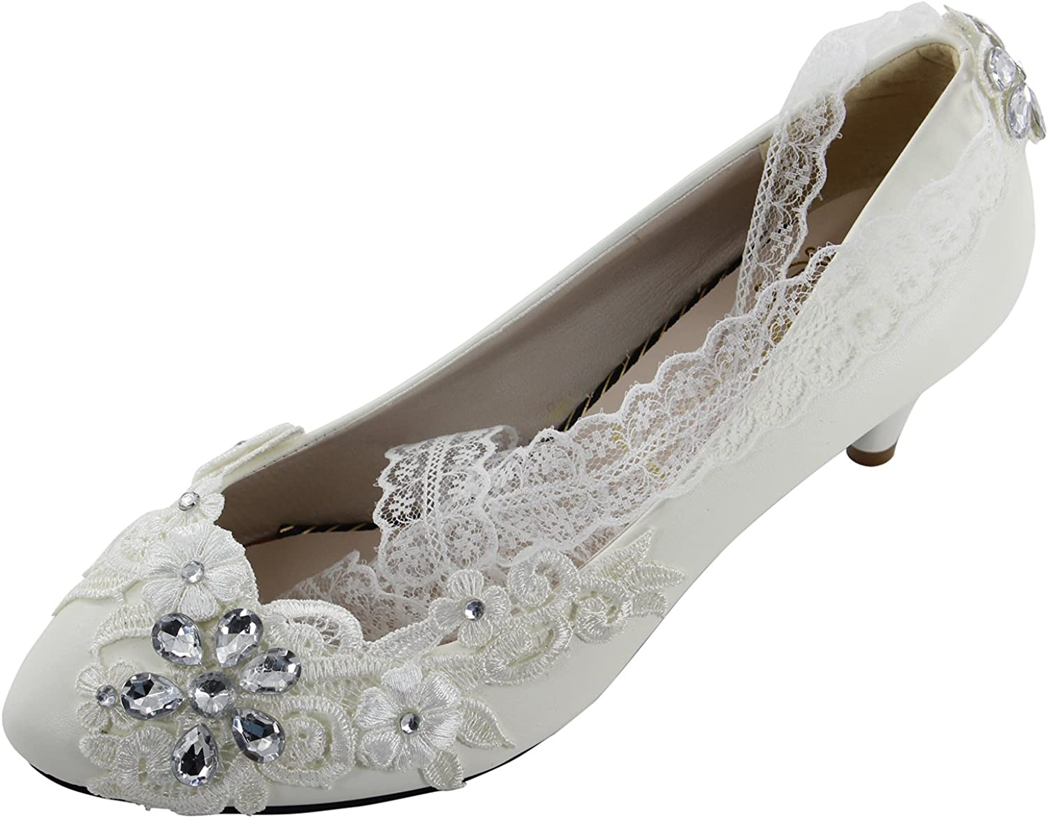 Msmushroom Handmade 4.3  Heel White Wedding Party shoes