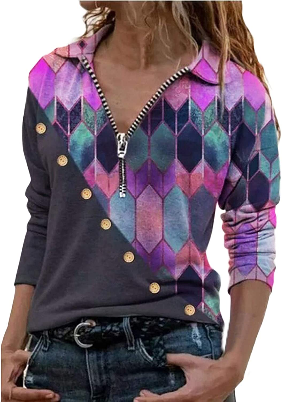 AODONG Sweatshirts for Women Casual V-Neck Long Sleeves Sweatshirts Fashion Design Blouse Boho T-Shirt Tops