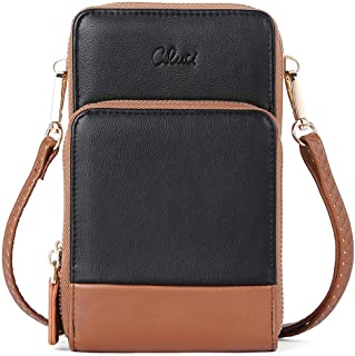 CLUCI Small Crossbody Bag for Women Leather Cellphone Shoulder Purses Fashion Travel Designer Wallet Black with brown