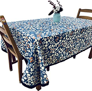 HAORUI Cotton Table Cover-150cm×215cm Square Table Cloth- Rectangle Spillproof and Water Resistant with Patterns for Dinni...