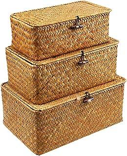 WOOD MEETS COLOR Boîte de Rangement 3 Pièces Boîte de Rangement Seagras Dekobox Rangement Cosmétique avec Couvercle Panier...