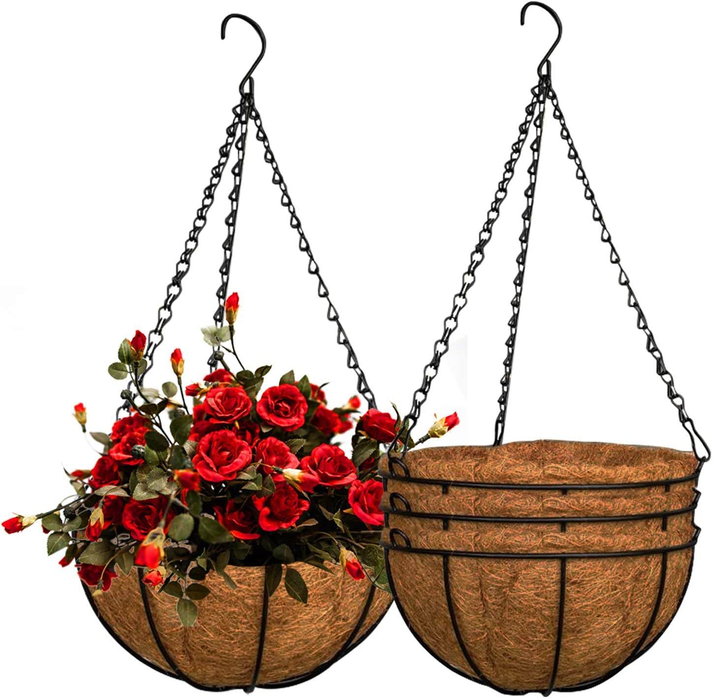 ZeeDix 3 Pack 10inch Metal Hanging Basket Co Max 45% OFF 55% OFF Planter with