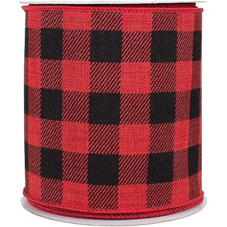 gift wrap  black farmhouse ribbon 4 yds Buffalo Plaid Black /& Red  Wired Ribbon 2-12 wide cut  rustic ribbon Christmas decor